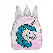 2021 Kids Unicorn School Bag Mermaid Reversible Sequin Backpack Child Bookbags