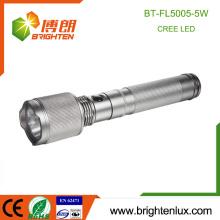Fuente de la fábrica CE Rohs 2 * D operado por la auto-defensiva táctica de aluminio 5W EE.UU. Cree de alta potencia llevó la luz de la antorcha