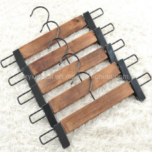 Ancient Style Wooden Hosen Hosen Rock Hanger mit Metall Clips