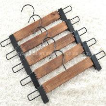 Calças de madeira estilo antigo Calças de calças com clipes de metal