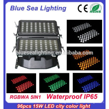 DMX 96pcs 15w rgbwa 5in 1 led outdoor building projection lighting