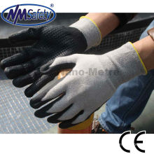 NMSAFETY 13 jauge nylon gris et doublure de coton enduit gants de travail en mousse de nitrile respirant