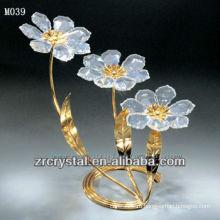 Кристалл K9 цветок с золотым покрытием