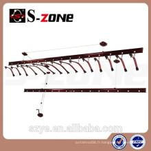 SZ12-08 Cloisons rouges roulantes pour vêtements ronds en rampes pli rabattables et extensibles