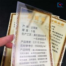 L'or emboutissant l'étiquette transparente d'épaississement de prix de granit de PVC pour des tuiles