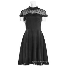 OPQ-308 PUNK RAVE Black Dress Female Dress Lotus Leaf Side Stitching Casual Woman Spring Chiffon Plain Dyed Pleated Plaid Adults