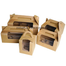 Carrier Lunch Package Boxes / Kraft Paper Cupcake Box avec insert