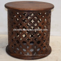 Mesa de tambor redondo de madera de mango