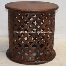 Mango Wood Carving Round Drum Table