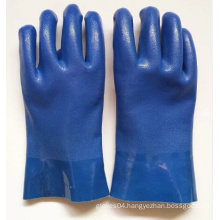 blue sandy finish PVC gloves with chemical resistant