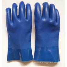 Luvas de PVC de acabamento arenoso azul com resistência química