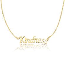 Nombre personalizado collar simple diseño en oro Collar de la bondad