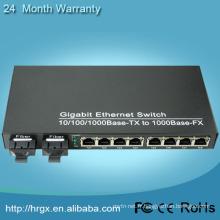 2 ports fibre 8 RJ45 gpon media converter