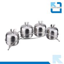4 piezas de acero inoxidable sal pimienta Set condimento especia jarra