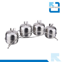 4 Pieces Stainless Steel Salt Pepper Set Condiment Spice Jar