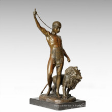 Soldiers Figure Statue Lion Trainer Bronze Sculpture TPE-328