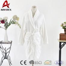 Roupão curto de lã de flanela branca clássica feminina sólida