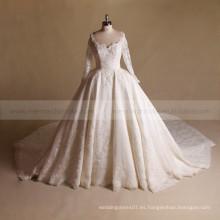 De lujo de cuello en V de la forma del corazón de espalda de cuentas de encaje princesa vestido de novia con el vestido de bola de tren largo