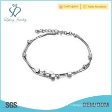 Новейшие браслеты из цельного браслета, серебряные браслеты из тонкой платины