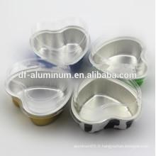 Coupe en aluminium en forme de coeur en aluminium avec couvercle Dôme transparent