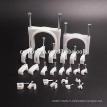 Agrafes de câble de cercle gris en plastique de 8mm avec la taille différente des aciers d'acier, 100pcs / bag