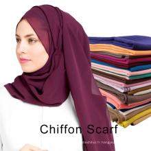 Usine d'approvisionnement couleur unie plaine mousseline de soie musulmane dubai hijab pour les femmes