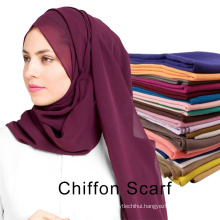 Factory supply solid color plain dubai muslim chiffon hijab for women