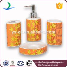 Großhandelsgelbes Blumen-Abziehbild-keramisches natürliches Badezimmer-Satz