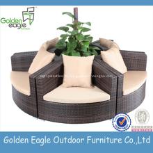 Sofá secional ajustado do sofá redondo do rattan da mobília do jardim