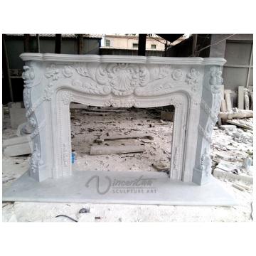 2018 Nueva chimenea de mármol blanco