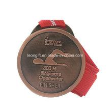 Natação personalizada cobre chapeado medalha de melhor qualidade