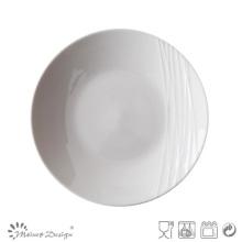 Placa de ensalada grabada en porcelana Simply White