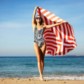 Double-side Velour suede red and white stripe Round Beach Towel RBT-165