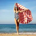 Двусторонняя велюр замша красный и белый в полоску круглый пляжное полотенце РБТ-165