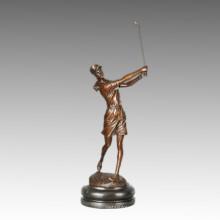 Sports Statue Golf Lady Bronze Sculpture, Milo TPE-750