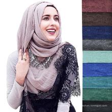 Nouveau design mode couleur unie plaine dentelle femmes musulman hijab écharpe dubai