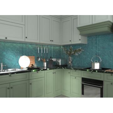 Azulejos de mosaico de vidrio hexagonal para decoración de interiores