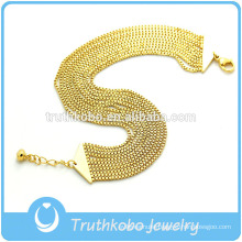 TKB-JB0171 Gorgeous gold women's jewel with eight box shape chains and a tiny bell 316L stainless steel bracelets & bangles