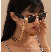 European and American Gold Silver Fashion Jewellery Hip Hop Punk Cuban Matte Flat Thick Chain Hanging Neck Rope Sunglasses Chain Glasses Chain for Women 2021