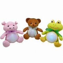 Battery-operated Novelty Flashing LED Night Lights in Shape of Plush Toys for Baby