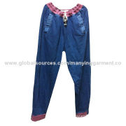 Men's Casual Pants, Knitted Cotton Denim, Denim Blue Garment Washing, Rib Elastic Waistband and Hem