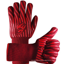 TE04 Fire proof Pit Oven Mitt Baking Kitchen Cooking Heat Resistant Grill BBQ Gloves factory in china