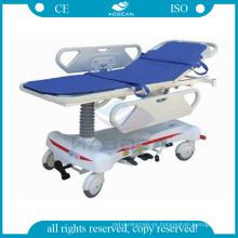 AG-HS008 dos pcs ABS barandillas manual hidráulico hospital camilla fabricantes