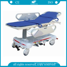 AG-HS008 two pcs ABS handrails manual hydraulic hospital stretcher manufacturers
