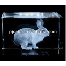 2015 Beautiful 3D Laser Crystal Cube Rubbit For 2013 Christmas Crafts & home decoration