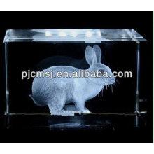 2015 bonito 3D cristal cubo de cristal Rubbit para 2013 artesanato de Natal e decoração de casa