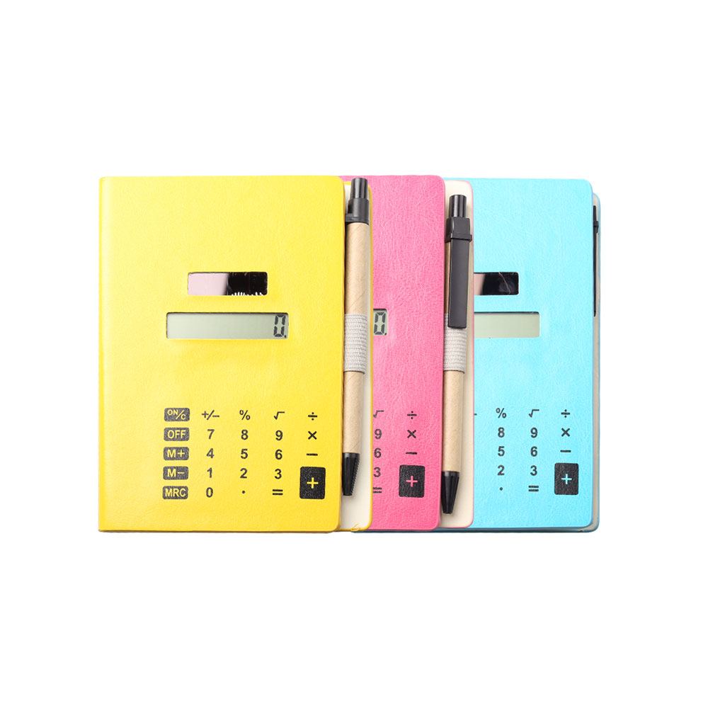 8 Digits Solar Power Notebook Calculator with Pen