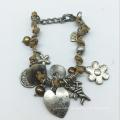 Heart Drop Leather Thread Alloy Parts Bracelet (XBL13561)