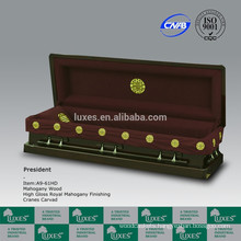 Fancy Chinese American Style Solid Mahogany Wood Casket Coffin For Funeral