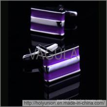 VAGULA Cuff Links Purple Enamel Men Cufflinks (Hlk31720)